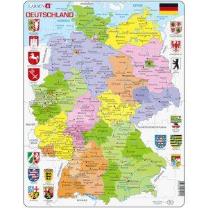 Puslespill fra Larsen puslespillfabrikk. Politisk kart over Tyskland.