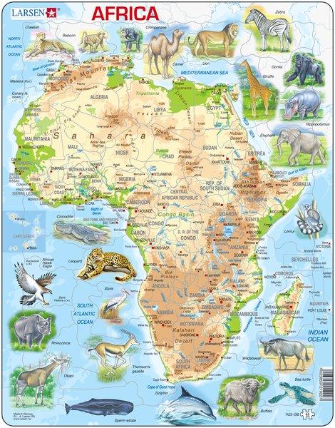 Puslespill Larsen puslespillfabrikk Kart over Afrika med dyr.