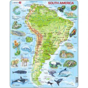 Puslespill Sør Amerika kart