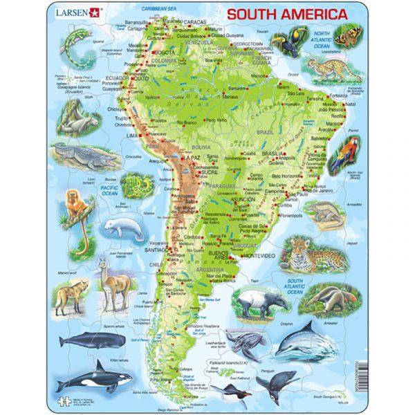 Puslespill fra Larsen puslespillfabrikk. Her kan du pusle kart over Sør-Amerika med dyr.