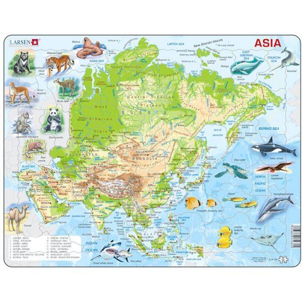 Puslespill fra Larsen puslespillfabrikk. Her kan du pusle kart over Asia med dyr.