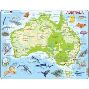Puslespill fra Larsen puslespillfabrikk. Her kan du pusle kart over Australia med dyr.