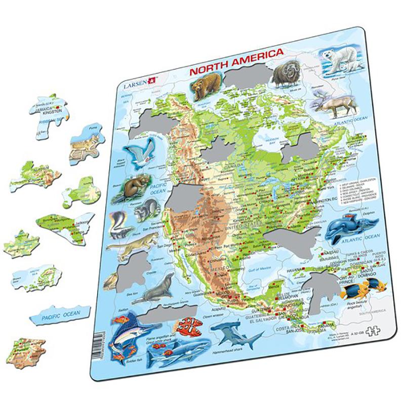 Puslespill Nord Amerika Kart Hobbyfabrikken