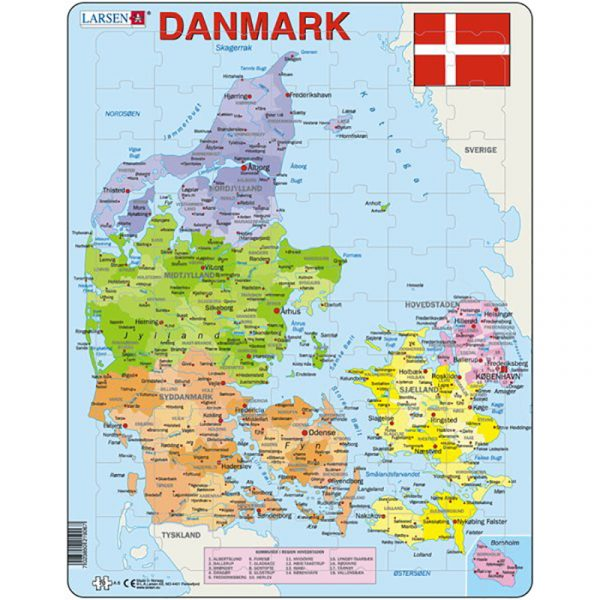 Puslespill fra Larsen puslespillfabrikk. Politisk kart over Danmark.