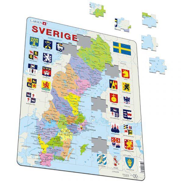Puslespill fra Larsen puslespillfabrikk. Politisk kart over Sverige.