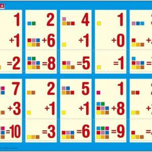 Puslespill Larsen puslespillfabrikk Addisjon 1-10a. Puslespill med addisjonsoppgaver med svar fra 1-10.