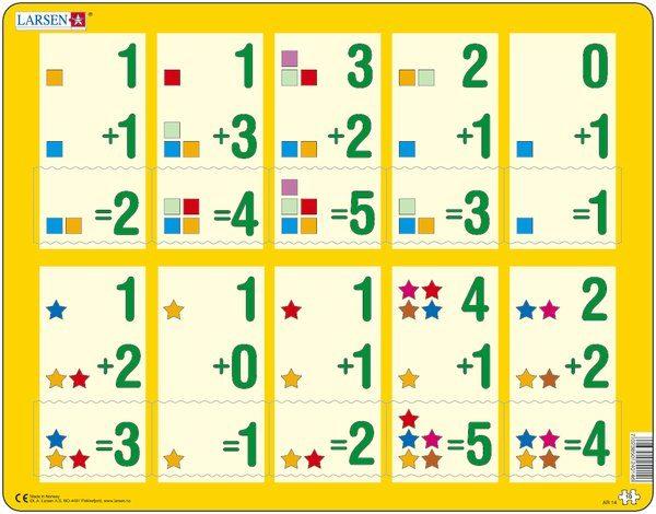 Puslespill Larsen puslespillfabrikk Addisjon 1-5. Puslespill med addisjonsoppgaver, med svar fra 1-5.