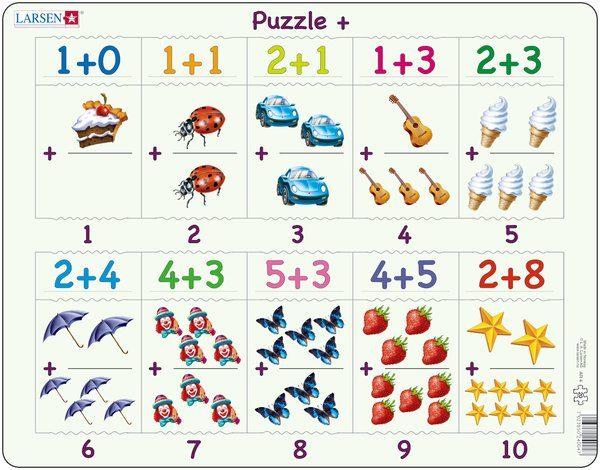 Puslespill Larsen puslespillfabrikk Pusle +. Addisjons puslespill med svar fra 1 - 10.