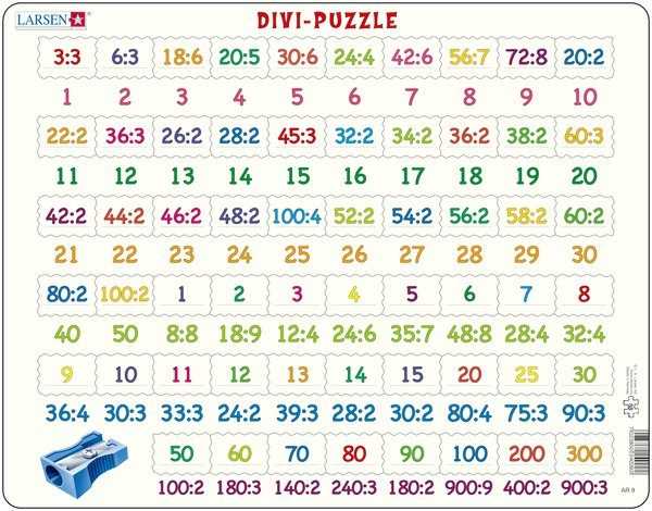 Puslespill Larsen puslespillfabrikk Divi Puzzle. Puslespill med divisjonsoppgaver.