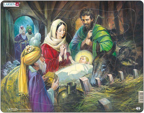 Puslespill fra Larsen puslespillfabrikk. Jesus i krybben. Julaften.