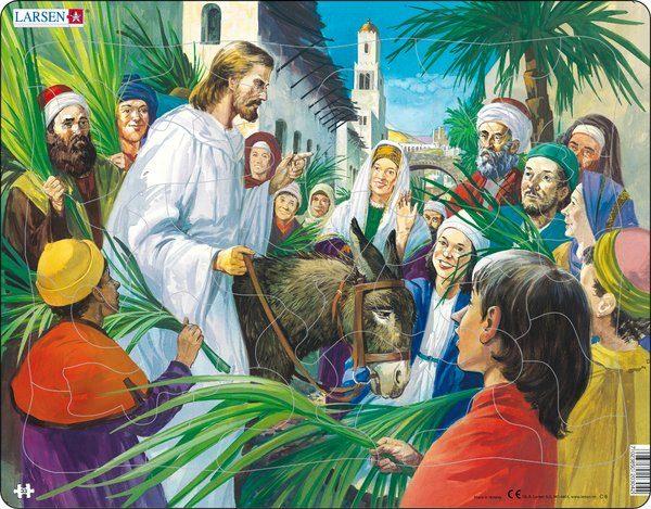 Puslespill Larsen puslespillfabrikk Jesus ankommer Jerusalem på esel.