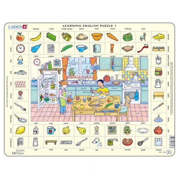 Puslespill Larsen puslespillfabrikk Spill med engelsk undervisning. Lær engelsk. Learning english puzzle 1.