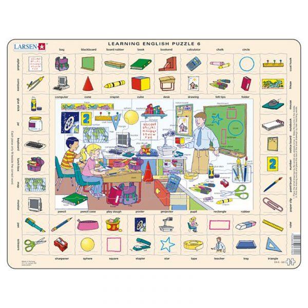 Puslespill Larsen puslespillfabrikk Spill med engelsk undervisning. Lær engelsk. Learning english puzzle 6.