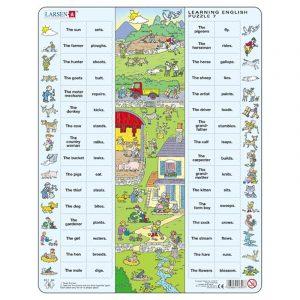 Puslespill Larsen puslespillfabrikk Spill med engelsk undervisning. Lær engelsk. Learning english puzzle 7.