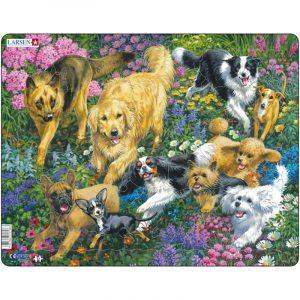 Puslespill fra Larsen puslespillfabrikk. Her kan du pusle hunder på blomstereng.