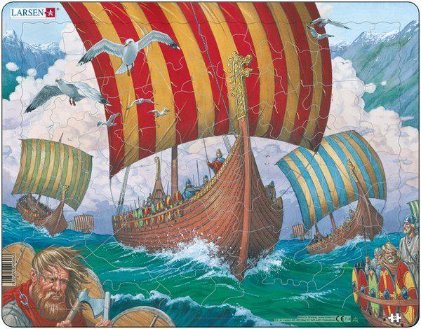 Puslespill Larsen puslespillfabrikk. Spill av vikingskip Ormen Lange