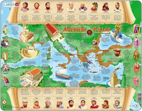 Puslespill fra Larsen puslespillfabrikk. Her kan du pusle historie. Dette er historien om Antikkens Hellas.