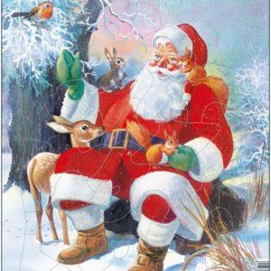 Julenissen med dyr, et puslespill fra Larsen puslespillfabrikk
