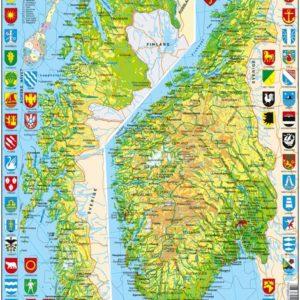 Puslespill Larsen puslespillfabrikk, med kart over Norge.