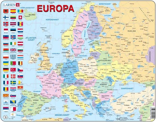kart over europa med hovedsteder