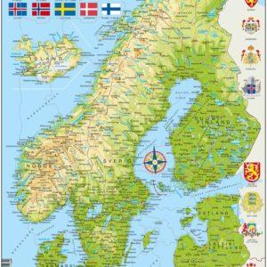 Puslespill Larsen puslespillfabrikk Kart over Norden og Baltikum.