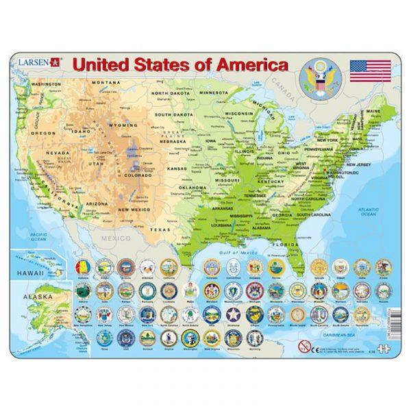 Puslespill Larsen puslespillfabrikk Spill med kart, amerikas forente stater USA