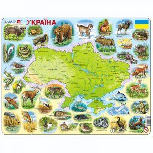Puslespill Larsen puslespillfabrikk Spill med kart, Ukraina med dyr.