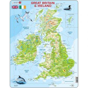 Puslespill fra Larsen puslespillfabrikk. Politisk kart over Storbritannia og Irland.