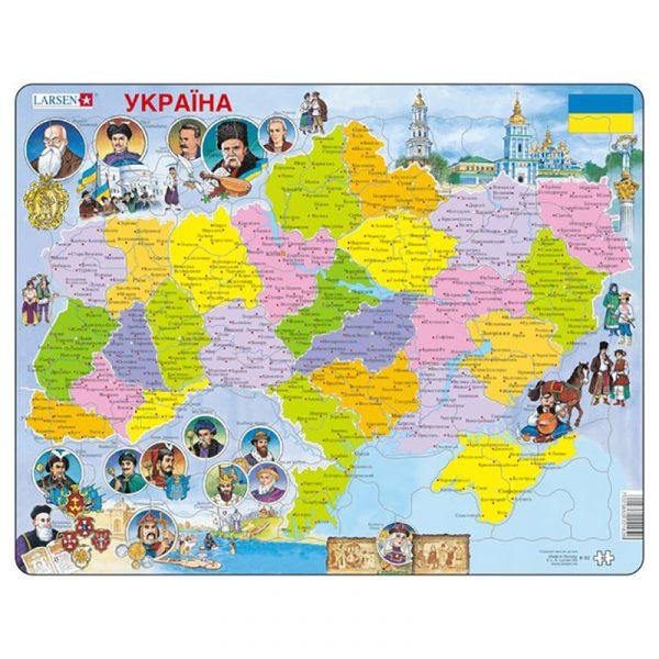 Puslespill Larsen puslespillfabrikk Spill med kart, Ukraina politisk.