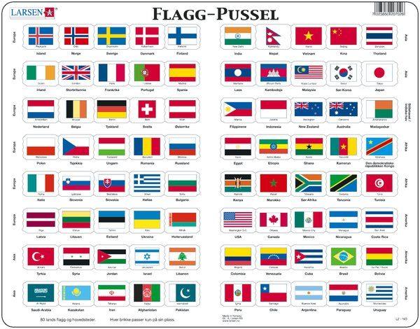 Flagg puslespill, fra Larsen puslespillfabrikk.