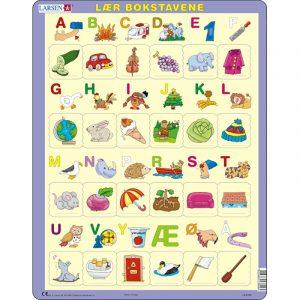 Puslespill fra Larsen puslespillfabrikk. Lær bokstavene i alfabetet. Med bilder