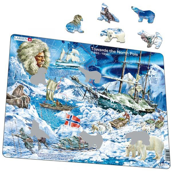 Puslespill fra Larsen puslespillfabrikk. Her kan du pusle Fridtjof Nansen og skipet FRAM mot Nordpolen.