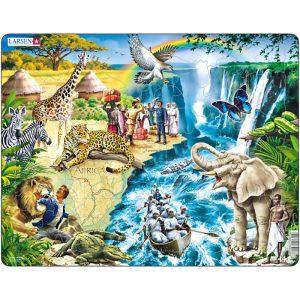 Puslespill fra Larsen puslespillfabrikk. Her kan du pusle David Livingstone i kano nedover Zambezi strykene.
