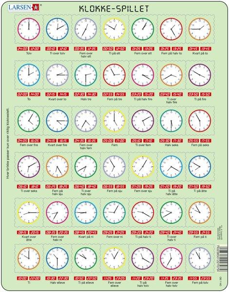 Puslespill Larsen puslespillfabrikk. Puslespill der du lærer klokka.