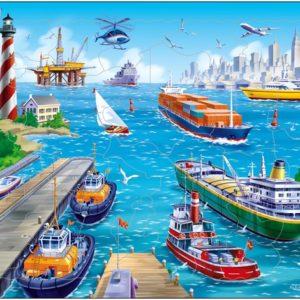 Puslespill fra Larsen puslespillfabrikk Spill av havn fra Larsen puslespillfabrikk