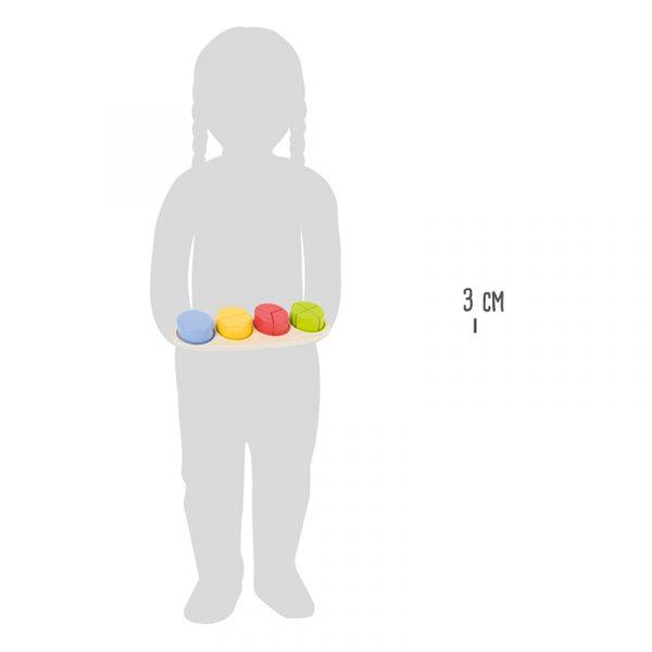 Fraksjon sirkler lek og lær. Brøk, sortering, logikk, motorikk, læring. Fargekombinasjoner i tre. Puttebrett.