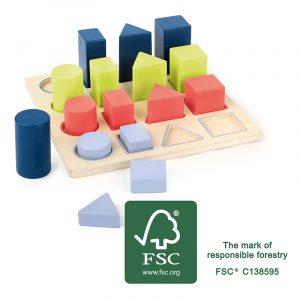 Geometriske former lek og lær. Logikk labyrint. Motorikk, læring. Fargekombinasjoner i tre. Puttebrett.