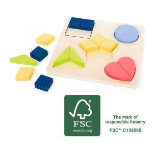 Pusle sortering form og farge. Lek og lær. Sortering, logikk, motorikk, læring. Fargekombinasjoner i tre. Puttebrett, sorteringsbrett.
