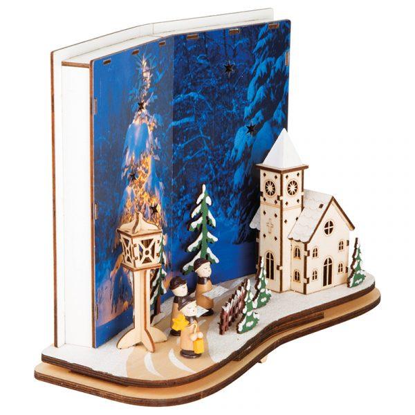 Julefred i modell form. Opplyst med LED, laget i tre. Kirke og kor. Juledekorasjon.