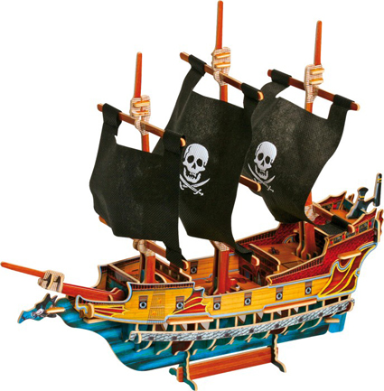 3D puslespill Piratskip. Et 3D puslespill i solid tremateriale.