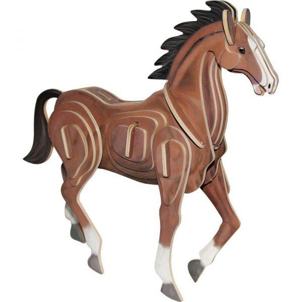 3D puslespill hest. Puslespill i tre.