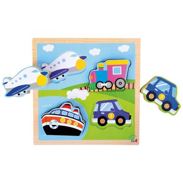 Puslespill i tre, transportmidler. fly, båt, bil, tog. Puzzle for barn.