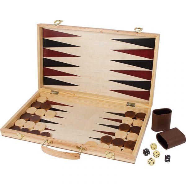 Sjakk og backgammon i trekoffert.