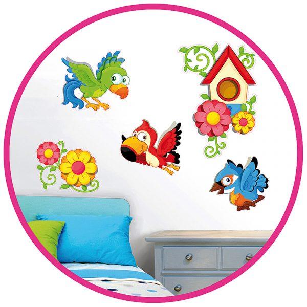 Deco sticker papegøye. Flott til dekorasjon barnerom. Decosticker med fugler og blomster. Klistremerker pynt.