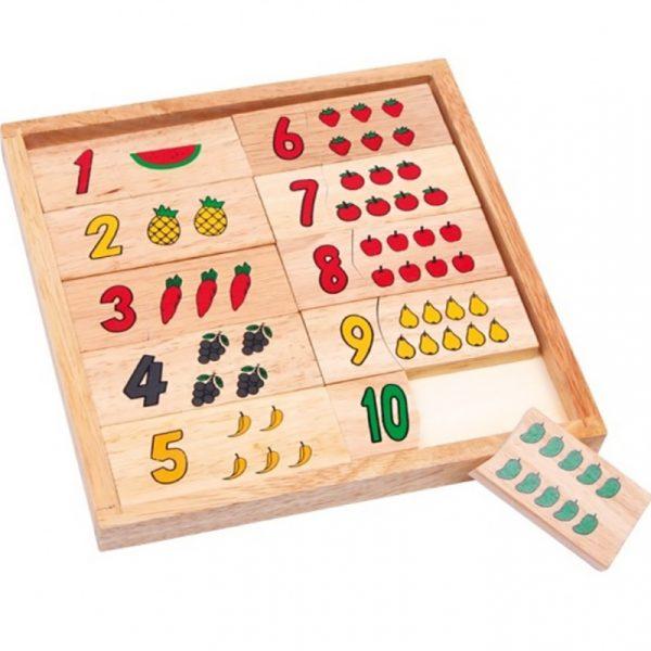 Puslespill lær tall med frukter. Mengdelære, rammepuslespill. spill i tre.
