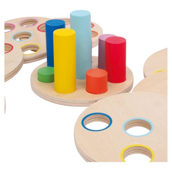 Logikk stable spill. Lek og lær. Fargekombinasjoner trening stablespill.