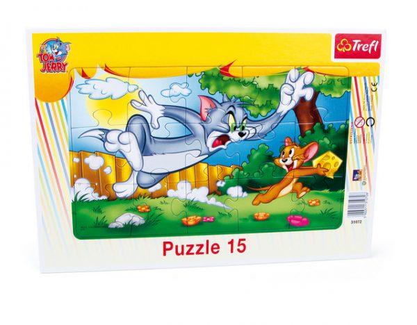 Rammepuslespill Tom og Jerry. 15 biter puslespill med de kjente figurene Tom & Jerry.