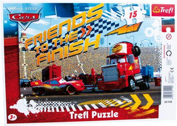 Rammepuslespill Cars. 15 biter puslespill med de kjente figurene Disney filmen Biler.