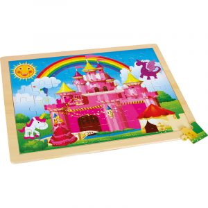 Puslespill rosa paradis. Rammepuslespill i solid tre, rosa slott, hester, prinsesse, regnbue.