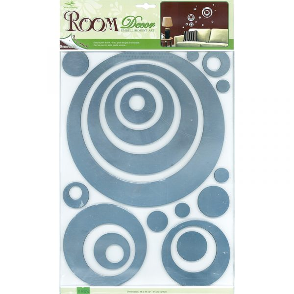 Decosticker med sølvfargede blanke sirkler. Flott dekorasjon i stuen e.l. Enkelt å montere på og av. Mykt skumgummi.